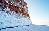 Panoramic view of Snow mountain at Lake Baikal in winter