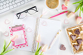 Spring woman office concept flatlay