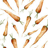 Watercolor seamless pattern with carrot. Hand painted food isolated on white background. Floral vegetables illustration for design, print or background. Healthy life.