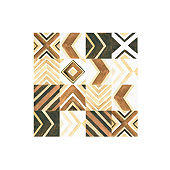 Watercolor boho wooden set- hand painted fashion panel of natural wood mosaic tiles with geometric pattern. illustration perfect for wall art, fabric textile, prints, greeting cards for wedding
