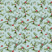 Watercolor Christmas seamless pattern with plant for holiday. Hand painted holly, mistletoe, berries isolated on pastel blue background. Winter botanical illustration for design, print or background.