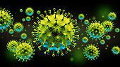 Coronavirus background with disease cells.