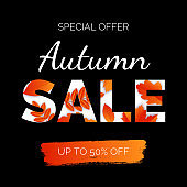 Sale poster with golden autumn leaves