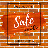 Discount poster on the brick wall