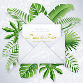 Nacre wedding poster with tropical leaves