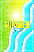 Vertical summer poster of lime color