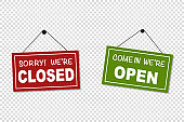 Come in we are open and sorry we are closed signs vector isolated. Green and red board for the shop. Information sign.