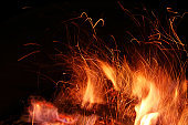 Defocused Background. Fire flame and sparks on a black background. Close-up.