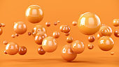 Abstract background with 3d spheres. Yellow bubbles. 3D illustration of balls. Colorful design concept. Banner or flyer background. Decoration elements for design.
