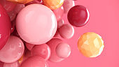 Abstract background with 3d spheres. Pastel pink bubbles. 3D illustration of balls. Colorful design concept. Banner or flyer background. Decoration elements for design