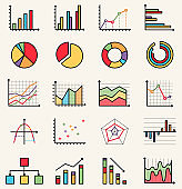 Vector flat style colorful isolated icons of graphs, schemes, schedules