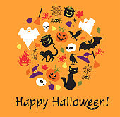 Halloween details with the text in a shape of a circle on the orange background.