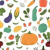 Fruits and vegetables seamless pattern vector illustration.