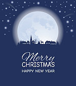 Silhouette of a small village at winter time at night. The Moon and stars in the sky. Merry Christmas and Happy New Year text.