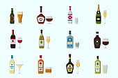 Alcohol drink Icons set 01-02