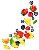 "Creative layout made of summer fruits and mixed berries isolated on white background. Flat lay. Food concept.""n"