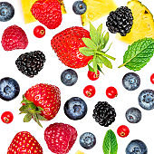 "Summer Pattern with  fresh fruits and mix berries isolated on white background. Strawberry, Pineapple, blackberry, blueberry, cranberry. Flat lay. Food concept.""n"