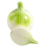 """Fresh Bulb Onion vegetable and onion slices isolated on white background, close up""""n"""