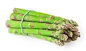 """Raw Asparagus isolated on white background. Fresh asparagus.  Vegetarian  Food concept.""""n"""