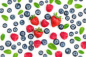 Summer Food Pattern with Fresh berries isolated on white background, top view. Strawberry, raspberry, mint leaf. Mix Berry  Flat lay.