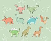 Dinosaurs Icons set 01-03