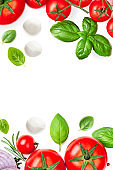 Mozzarella,  basil leaf, rosemary and tomatoes  isolated  on white background.Creative layout made of fresh vegetables. Flat lay. Top view