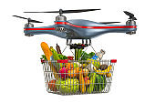 Delivery drone with shopping basket full of products. 3D rendering isolated on white background