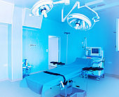 Image of medical ventilator. Hospital respiratory ventilation. Patient life saving machine. Modern hospital operating room