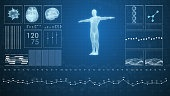 3D rendering of futuristic medical infographics, a virtual body scanning interface with heart, human body and electrocardiogram illustrations.