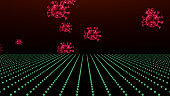 3D rendering shot of red coronavirus cells flowing black screen background.