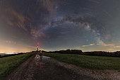 Milky way and perseid meteor shower