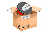 Robotic vacuum cleaner inside cardboard box, delivery concept. 3D rendering isolated on white background