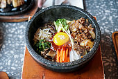 Bibimbap with pork and egg yolk.