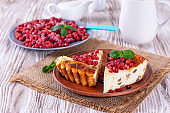 Cottage cheese bake cake casserole with berries
