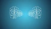 3D render brain animation, deep learning modern computer technologies.