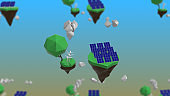 3d rendering of solar panels with clouds on green ground on islands.