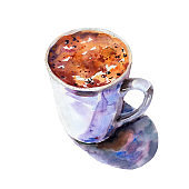 Watercolor hand drawn illustration. White cup of coffee vintage style. Isolated object on white background. Bright vibrant color.