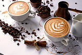 Espresso coffee with latte art design