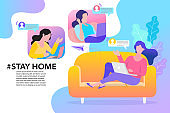 family smiling and staying together. Stay home, Stay safe concept. Save lives vector design sign concept. Stop Covid-19 Coronavirus. Trendy flat vector illustration.