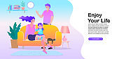 Parents and daughters are happy to be at home. happy family, travel and psychotherapy, family health care. Vector illustration in a flat style.