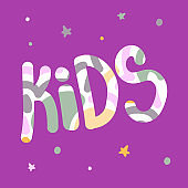 Vector hand-drawn color children`s lettering.