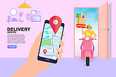 Delivery concept. Man Delivering Online with Grocery order from smart phone. Shopping on social networks through phone flat design style. Vector illustration.