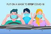 Parents and children all wear masks in the car. Before departure. Stay safe concept. Save lives design sign concept. Stop Covid-19 Coronavirus. Trendy flat vector illustration.