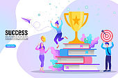 Education Pile of books and golden trophy for future success winner. Vector illustration for mobile and web graphics. Online course education lectures.