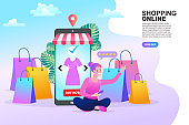 woman with shopping bags and megaphone. sale and discount concepts. flat horizontal copy space vector illustration.