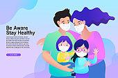 Cartoon family wearing medical face mask stay at home vector illustration. Covid-19 coronavirus quarantine campaign. Vector flat design.