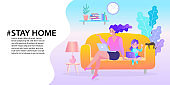 woman sitting at their home, room or apartment, Quarantine, stay at home concept, relaxing on sofa, Trendy flat vector illustration, EPS10.