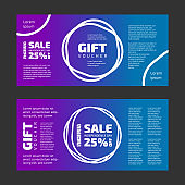 4th July Gift voucher. Color gradient background set