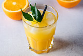 Gass of Tasty Orange Juice Tasty Summer Citrus Drink Ripe Oranges