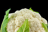 Cauliflower Head on a Black Background. Healthy Eating Organic Food Vegetables